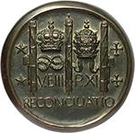 reverse: Benito Mussolini (1883-1945), Duce d Italia. Medaglia fusa A. VII.  D/ Busto a sinistra, ai lati A. VII. R/ V. EIII P.XI RECONCILIATIO. Corona sopra nodo sabaudo e tiara papale tra tre fasci. Cas. manca. AE.   mm. 116.00 Inc. S. Johnson. RRR.  SPL.