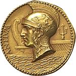 obverse: Anzio.  Medaglia 1925, Inaugurazione cavo Anzio-Sud America.  D/ ANTIUM. Testa elmata di Roma a sinistra, su onde marine; sullo sfondo, prora di nave romana e tridente. R/ INAUGURAZIONE DEL CAVO ANZIO-SUD AMERICA. OTTOBRE MCMXXV. Figura femminile nuda su delfino a destra. Sotto, LATINA GENS PER/ UNDA JUNCTA/ nodo sabaudo. Cas. Il fulgore dell oro nelle medaglie italiane III/5. AU. g. 12.74  mm. 24.80   Tacca di saggio al R/, altrimenti FDC.