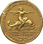 reverse: Anzio.  Medaglia 1925, Inaugurazione cavo Anzio-Sud America.  D/ ANTIUM. Testa elmata di Roma a sinistra, su onde marine; sullo sfondo, prora di nave romana e tridente. R/ INAUGURAZIONE DEL CAVO ANZIO-SUD AMERICA. OTTOBRE MCMXXV. Figura femminile nuda su delfino a destra. Sotto, LATINA GENS PER/ UNDA JUNCTA/ nodo sabaudo. Cas. Il fulgore dell oro nelle medaglie italiane III/5. AU. g. 12.74  mm. 24.80   Tacca di saggio al R/, altrimenti FDC.