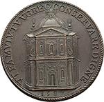 reverse: Gregorio XIII (1572-1585), Ugo Boncompagni. Medaglia anno 1582.  D/ GREGORIVS XIII PONTIFEX MAXIMVS. Busto a sinistra con piviale. R/ VT FAMVLV TVV GREG CONSERVARE DIGNE. Prospetto della nuova chiesa di San Gregorio. Spink 618. AE.   mm. 37.50 Inc. Lorenzo Fragni.   qFDC. Nel 1580, il Pontefice Gregorio XIII, che soggiornava a Villa Mondragone, giungendo in visita presso il borgo di Monte Porculo e rilevando l assenza di un luogo di culto, decise di commissionare la costruzione di una chiesa dedicata al santo suo omonimo: San Gregorio Magno. Questo edificio sorgeva dove ora si trova il cortile della casa parrocchiale, sul portone d'ingresso del cortile è ancora visibile quello che resta dell'antico portale d'ingresso della chiesa. Il Duomo attuale fu costruito a partire dal 1666 su progetto dell'architetto Rainaldi e fu consacrato un secolo dopo, nel 1766, dal Cardinale Enrico Stuart, Vescovo di Frascati e Duca di York.
