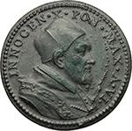 obverse: Innocenzo X (1644-1655), Giovanni Battista Pamphilj. Medaglia A.VI, la Lavanda.     AE.   mm. 30.00  R. Tracce di rottura del conio al D/ SPL.