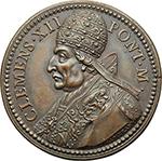obverse: Clemente XII (1730-1740), Lorenzo Corsini. Medaglia s.d.  D/ Busto a sinistra con triregno e piviale. R/ Carità Pontificia allatta un bimbo e ne cura un altro. Patr. 54. AE.   mm. 37.00  R.  SPL+.