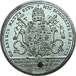 reverse: Pio VI (1775-1799), Giovanni Angelo Braschi. Medaglia 1775 per l elezione a Pontefice.     MB.   mm. 40.00 Inc. Reich. R. Piccola ossidazione al R/ SPL.