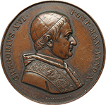 obverse: Gregorio XVI (1831-1846), Bartolomeo Alberto  Cappellari. Medaglia 1840, A.X Propaganda Fide.    Patr. 65. AE.   mm. 51.00 Inc. G. Girometti.   BB+-qSPL.
