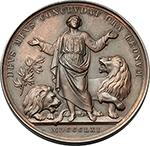 reverse:  Pio IX  (1846-1878), Giovanni Mastai Ferretti. Medaglia annuale, A. XVI.  D/ PIVS IX PONT MAX AN XVI. Busto a sinistra con berrettino, mozzetta e stola. R/ DEVS MEVS CONCLVDAT ORA LEONVM. Daniele tra due leoni, a sinistra un ramo d olivo. Bart. XVI-1. Bart. E. 861. AE.   mm. 43.50 Inc. Carlo Voigt.   BB/Bel BB.