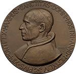 obverse: Pio XII (1939-1958), Eugenio Pacelli. Medaglia uniface 1944.  D/ Busto a sinistra.  Cus.-Mod. manca. AE.   mm. 65.00 Inc. Scirocchi. RRR.  qFDC/FDC. Emessa dalla Zecca.