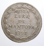 obverse: MANTOVA. Leopoldo II d'Asburgo Lorena (1790-1792). Mezza lira 1791