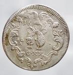 reverse: Zecche Italiane - NAPOLI. Carlo II. Tarì da XX grana di 2° tipo. 1697 Ag