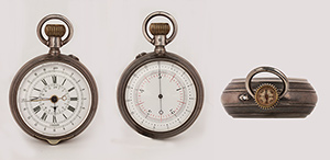 obverse image: ANONYMOUS, chronograph with double dial, around 1880. Pocket watch.