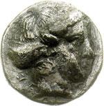 obverse:  Bruttium, Terina   Sesto di nomos, 345-300 a.C.