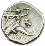 reverse:  Calabria, Taranto   Didracma, 272-235 a.C. Prima alleanza con Roma.