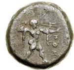 obverse:  Lucania, Poseidonia   Nomos, 480-400 a.C.