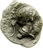 obverse:  Lucania, Thurium   Diobolo, 350-300 a.C.