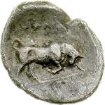reverse:  Lucania, Thurium   Diobolo, ca. 350-300 a.C.