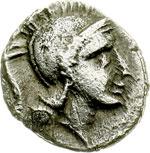 obverse:  Lucania, Thurium   Diobolo, ca. 350-300 a.C.