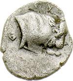 reverse:  Lucania, Thurium   Obolo (?), ca. 350-300 a.C.