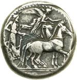 obverse:  Gela   Tetradracma, dopo il 405 a.C.
