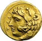 obverse:  Siracusa   AU 20 litre o tetradracma, ca. 405 a.C.