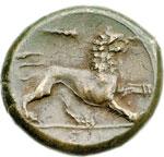 reverse:  Siracusa  Agatocle AE 21 mm. 295-289 a.C.