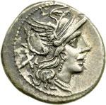 obverse:  Serie anonima Denario, dopo il 211 a.C.