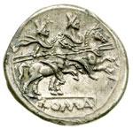 reverse:  Serie anonima Denario, dopo il 211 a.C.