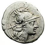 obverse:  Cn. Domitius Ahenobarbus Denario, 189-180 a.C.