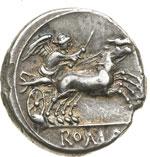 reverse:  Serie anonima. Denario, 157-156 a.C.
