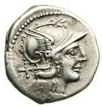 obverse:  C. Scribonius Denario, 154 a.C.