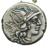 obverse:  C. Titinius Denario, 141 a.C.