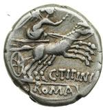 reverse:  C. Titinius Denario, 141 a.C.