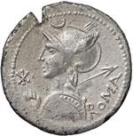 obverse:  P. Nerva / Q. Marcius Libo Denario ibrido e suberato, 112 a.C.