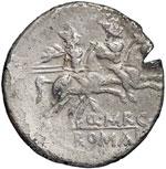 reverse:  P. Nerva / Q. Marcius Libo Denario ibrido e suberato, 112 a.C.