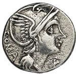 obverse:  L. Flaminius Chilo Denario, 109-108 a.C.