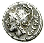 obverse:  L. Iulius L.f. Caesar Denario, 103 a.C.