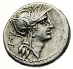 obverse:  D. Silanus L. f. Denario, 91 a.C.