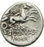 reverse:  D. Silanus L. f. Denario, 91 a.C.