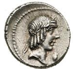 obverse:  L. Calpurnius Piso Frugi Denario, 90 a.C.