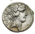 obverse:  C. Vibius C.f. C.n. Pansa Caetronianus Denario, 48 a.C.