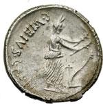 reverse:  C. Vibius C.f. C.n. Pansa Caetronianus Denario, 48 a.C.