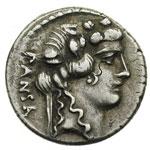 obverse:  C. Vibius C.f. C.n. Pansa Caetronianus Denario,48 a.C.