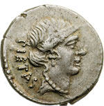 obverse:  Albinus Bruti f. Denario, 48 a.C.
