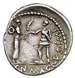 reverse:  Pompeo Magno Denario, 46-45 a.C.