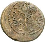 reverse:  Giulio Cesare AE 30 mm. 45 a.C. Zecca incerta dell Italia settentrionale.