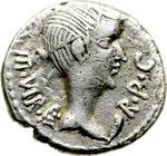 obverse:  Fulvia, prima moglie di Marco Antonio (deceduta nel 40 a.C.) Quinario, 43 a.C. Lugdunum.