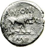 reverse:  Fulvia, prima moglie di Marco Antonio (deceduta nel 40 a.C.) Quinario, 43 a.C. Lugdunum.