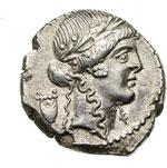 obverse:  P. Clodius M. f. Turrinus Denario, 42 a.C.