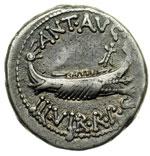obverse:  Marco Antonio. Denario, 32-31 a.C.
