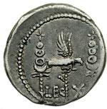 reverse:  Marco Antonio. Denario, 32-31 a.C.