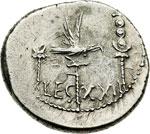 reverse:  Marco Antonio Denario, 32-31 a.C.