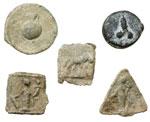 obverse:   Lotto di 5 tessere di piombo, II metà del I secolo a.C.